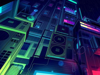 mirage_07 explore city night game video retro futur neon illustration