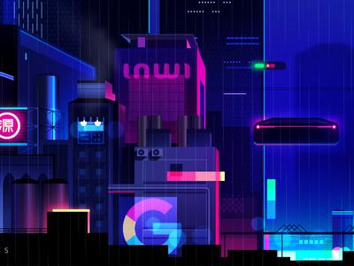 mirage_08 explore city night game video retro futur neon illustration