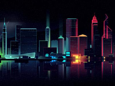 gone 5 eighties animation drive akira neon light noir future retro