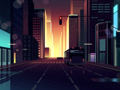 gones 7 bladerunner eighties noir akira thriller architecture futur retro night neon illustration