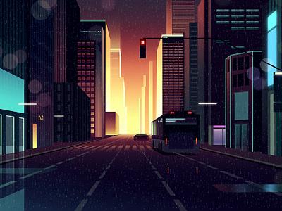 gones 7 bladerunner eighties noir akira thriller architecture futur retro night neon illustration