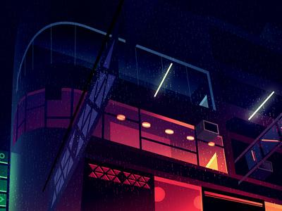 gone 20 gone eighties animation akira thriller neon photoshop light city retro futur night illustration