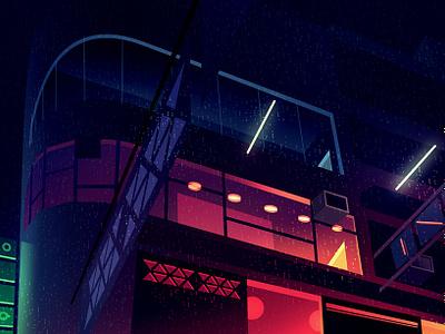 gone 21 akira bladerunner thriller light futur retro night neon illustration