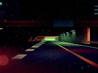 gone 34 bladerunner gone drive thriller eighties 80s illustration night futur retro neon light