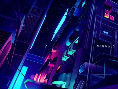 Mirage_series_03 light futur blade runner bladerunner syfy vector logo city retro neon illustration