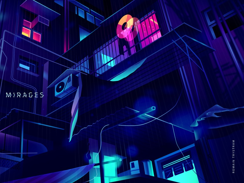 Mirage_series_04 steampunk blade runner series photoshop vector city retro logo futur neon illustration