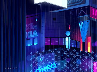 Mirage_series_05 blade runner gradient photoshop travel logo light city night futur retro neon illustration
