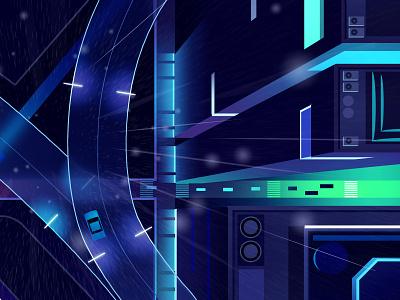 Mirage_series_08 fantastic syfy animation wallpaper vector game blade runner architecture futur retro neon illustration