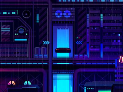 Mirage_series_22 travel cyber adventure game eexploration syfy architecture blade runner cyberpunk logo vector retro futur neon illustration