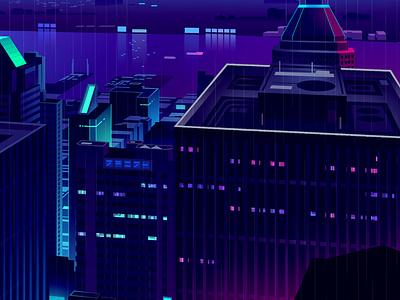 Mirage_series_23 80s vector retro gradient animation game blade runner cyberpunk skyline city futur neon illustration