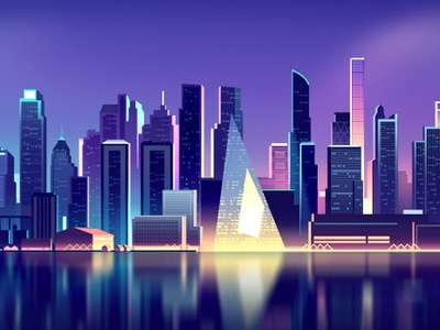 skyline_nyc_01 gradient landscape vector night retro color trystram futur neon light city illustration