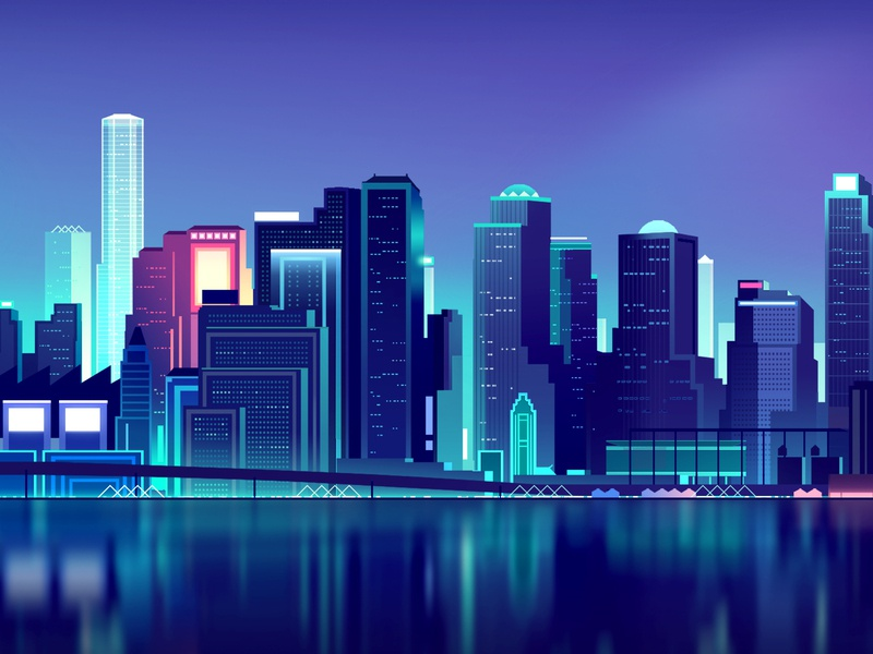 Big Trystram 02 wallpaper nyc newyork skyline gradient photoshop landscape vector retro color futur neon city illustration