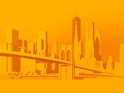 Yellow Nyc Trystram 01 branding vector photoshop design landscape trystram travel light poster wall yellow flat brooklyn bronx bridge nyc newyork wallpaper city illustration