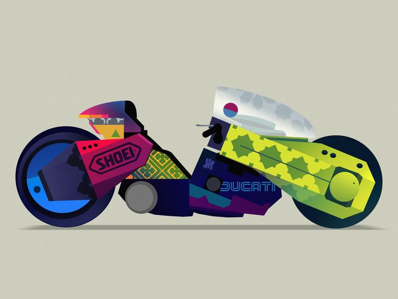 Kanedaaaa otomo patchwork fun series wallpaper digitalart artist art ducati motorcycle anime film game akira bike illustration