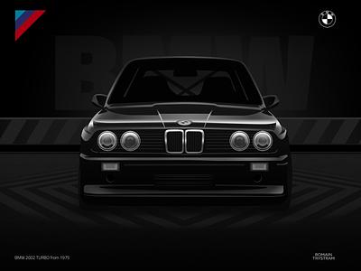 BMW Turbo 80s retro neon turbo black wallpaper style lifestyle automotive branding logo brand draw drawing photoshop illustrator design cars ca illustration