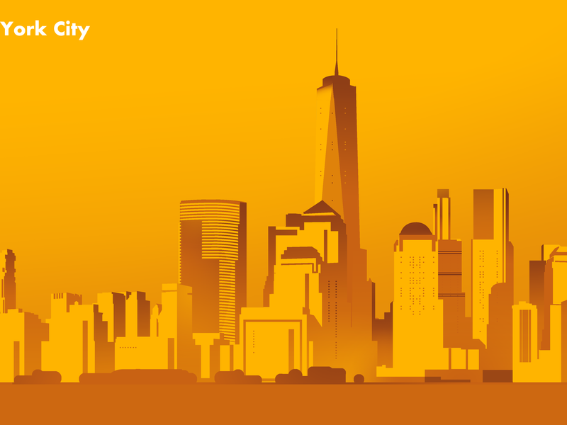 Yellow Nyc skyline decoration lifestyle style digitalart drawing vector flat photoshop illustrator artist art wallpaper newyorkcity newyork nyc skyline city yellow color illustration