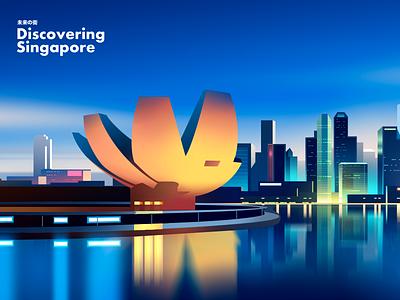 Singapore skyline trend graphicdesign digitalpainting digitalart wallpapers wallpaper design gradient landscape photoshop vector travel retro color futur light neon city illustration