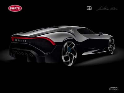 Bugatti la voiture noire 02 minimal branding vector design animation photoshop illustrator car black flat 2d illustration