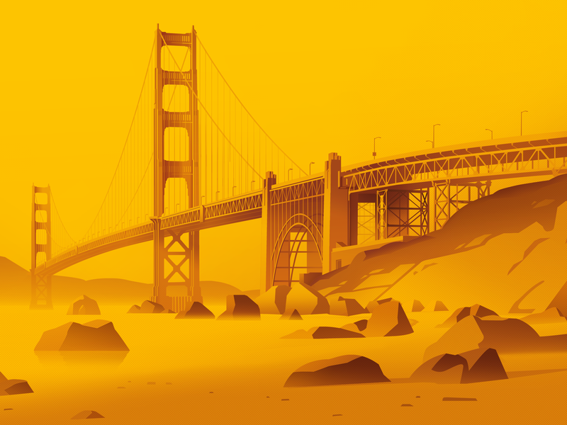 Golden Gate travel sanfrancisco landscape city clean web animation yellow website illustrator photoshop minimal vector flat design art illustration