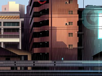 mirages n 3 014 train neotokyo tokyo cyberpunk trystram futur city light neon illustration