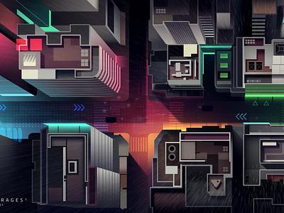 mirages n 3 018 street akira cyberpunk neotokyo tokyo travel retro trystram neon city illustration