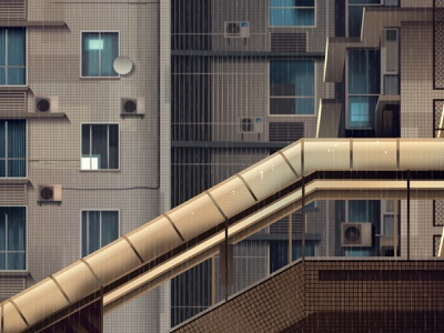 mirages n 3 020 street rain neotokyo tokyo cyberpunk retro futur trystram neon city illustration