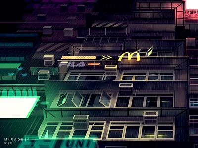 mirages n 3 024 rain cyberpunk neotokyo akira tokyo futur trystram neon city illustration