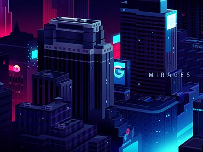aefbf665996821 5b06f6149cbfb kira blade runner losangeles cyberpunk retro futur trystram neon city illustration