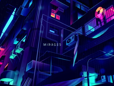 a_mirages 1_ trystram_02 retro futur trystram neon city illustration