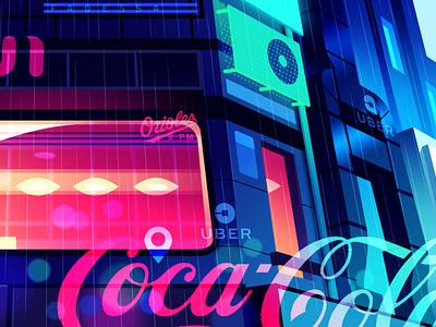 mirage_part1_06 cyberpunk street akira hologram retro futur trystram neon city illustration