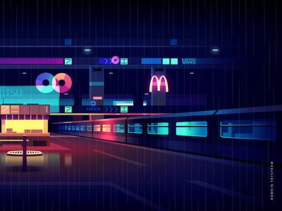 mirage_part1_015 tokyo neotokyo akira cyberpunk futur trystram neon light city illustration