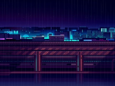 mirage_part1_021 akira cyberpunk light color trystram neon city illustration