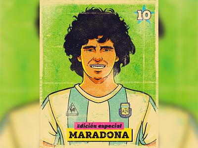Maradona trading card illustration sports football soccer trading cards trading card pulp art vintage retro photoshop pain tool sai illustration halftone character maradona