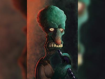 Squidward ui  ux design squidward spongebob color tv shows photoshop pain tool sai illustration character