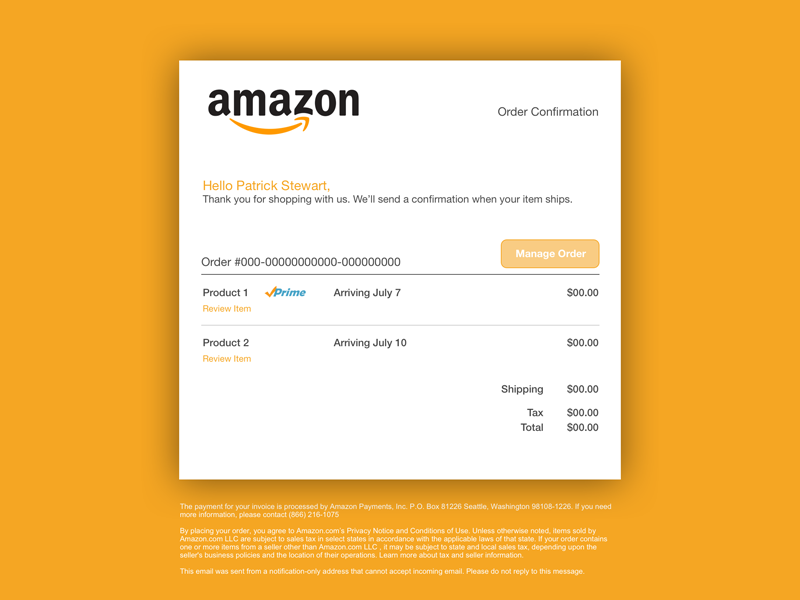 Amazon Order Confirmation email receipt order confirmation ux iu daily ui