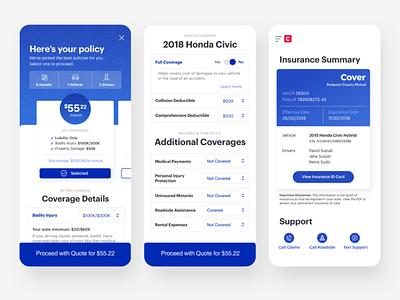 Cover App - Price + Insurance Card quote filter dropdown insurance card insurance interaction product design ui ux app mobile