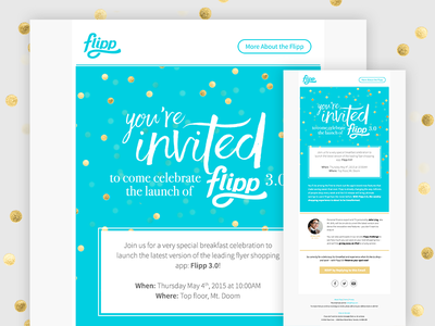 Flipp - Invitation Email branding launch feature event invitation gold blue email marketing marketing email