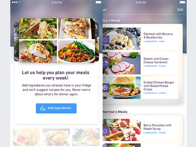 Preppé le Pew - Meal Planner purple food planning meals ux ui app mobile