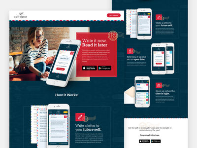 Paper Capsule App Site landing page wip responsive web design product mail marketing website app