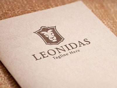 Leonidas - Lion Logo heraldry crest logo shield logo lion head classic lion logo brand design brand identity luxury logo logo design branding