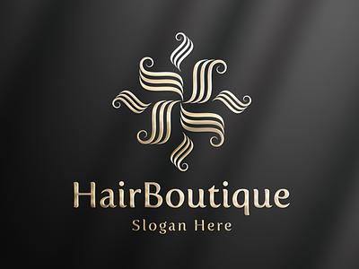 HairBoutique - Elegant Logo woman logo brand design feminine logo golden brand identity hairdresser fashion beauty logo luxury brand hair salon branding luxury logo logo design