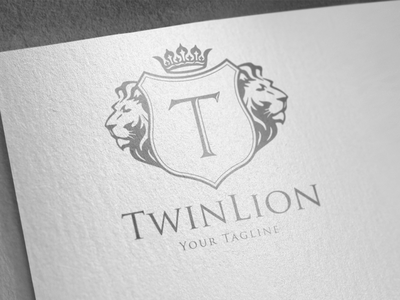 TwinLion - Heraldry Logo shield logo real estate logo brand identity luxury brand brand design monogram coat of arms family crest vintage logo heraldry crest logo luxury logo logo design