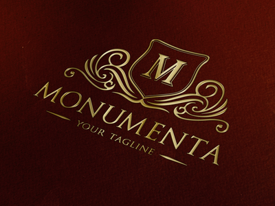 Monumenta - Classy Logo Design shield logo real estate logo luxury brand coat of arms monogram logo heraldry crest logo ornament classic vintage logo luxury logo logo design
