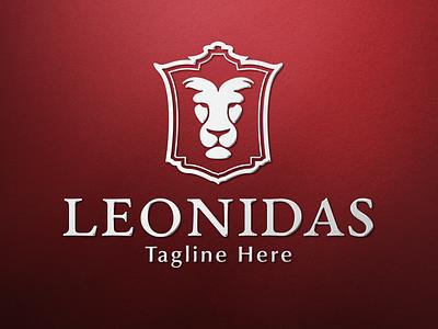 Leonidas - Lion Head Logo real estate logo brand identity vintage logo shield logo heraldry crest logo luxury logo branding lion head luxury brand lion logo brand design logo design