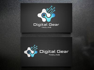 Digital Gear - Modern Logo brand identity brand design machine mechanical gadget business branding technology company logo mobile app tech logo branding logo design modern logo