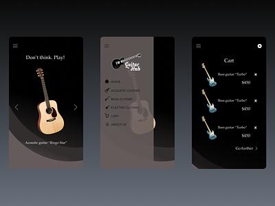 Guitar Hub aplication guitars music minimal app design ui design ux design ux ui