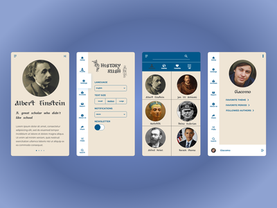 History Rush design illustration app aplication ux design minimal medieval history uiux uxdesign ui design ux ui