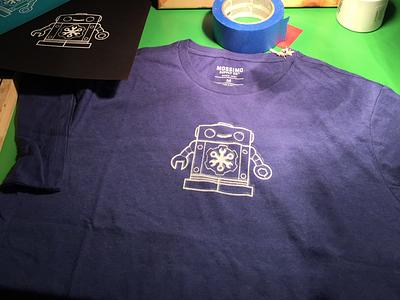 Cog Screenprint Test chatbot robot operable cog t-shirt chatops screenprint