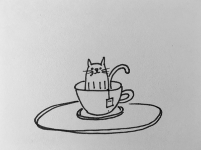 Tee and Cat drawing ink and paper feline black and white sketch catops tea cat chatops unix