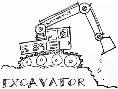 Question #39 index card pen sketch excavator